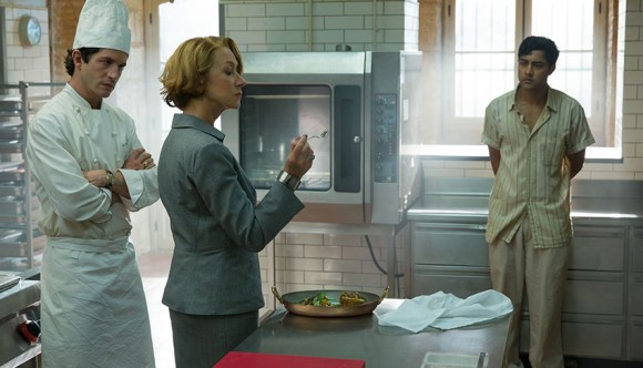 HFJ-0073 ..Hassan Kadam (Manish Dayal, right) endures Madame Mallory?s (Academy Award?-winner Helen Mirren) scrutiny of his culinary work, as chef Jean Pierre (Clem?nt Sibony) looks on, in DreamWorks Pictures? charming film, ?The Hundred-Foot Journey.? Based on the novel ?The Hundred-Foot Journey? by Richard C. Morais, the film is directed by Lasse Hallstr?m. The producers are Steven Spielberg, Oprah Winfrey and Juliet Blake. Photo: Fran?ois Duhamel ..?2014 DreamWorks II Distribution Co., LLC. All Rights Reserved.